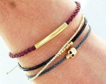 Friendship bracelet, mens bracelet, Skull bracelet - gold skull bead on nylon cord