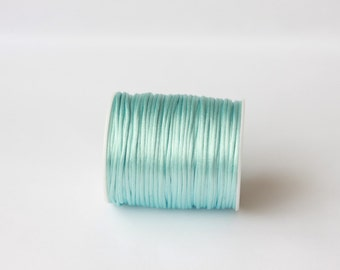 baby blue Rattail Cord, Knotting cord, blue Satin cord, 2.5mm  wide, Beading cord, Jewelery supplies, cord for bracelets,10 meters(11 yards)