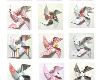 Paper Pinwheels - BABY GIRL Themed SET of 12 (Great for Cupcake Toppers or Pinwheel Bouquet)