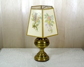 Vintage brass lamp with floral paper shade