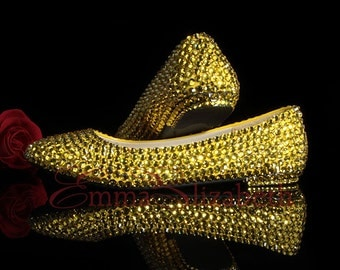 Gold Embelished Crystal Luxery Bridal/Special occasion Flats