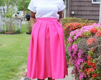 Pink Midi Skirt With Pockets- available in 12 colors