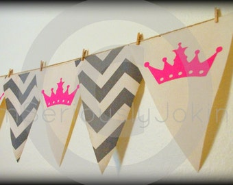 Baby Gender Reveal Party-party banner-bunting-crowns-baby shower-Little Miss Party-Princess Party banner-Girl birthday-pink banner