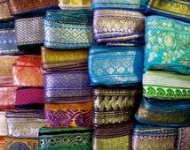 15 Yards Mixed Silk Sari Borders, Sari Trim, SR64