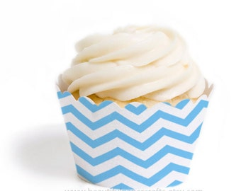 Blue Chevron Cupcake Wrappers, set of 12