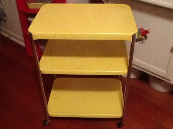 1950 yellow chrome kitchen cart by thepuppydogtails on etsy
