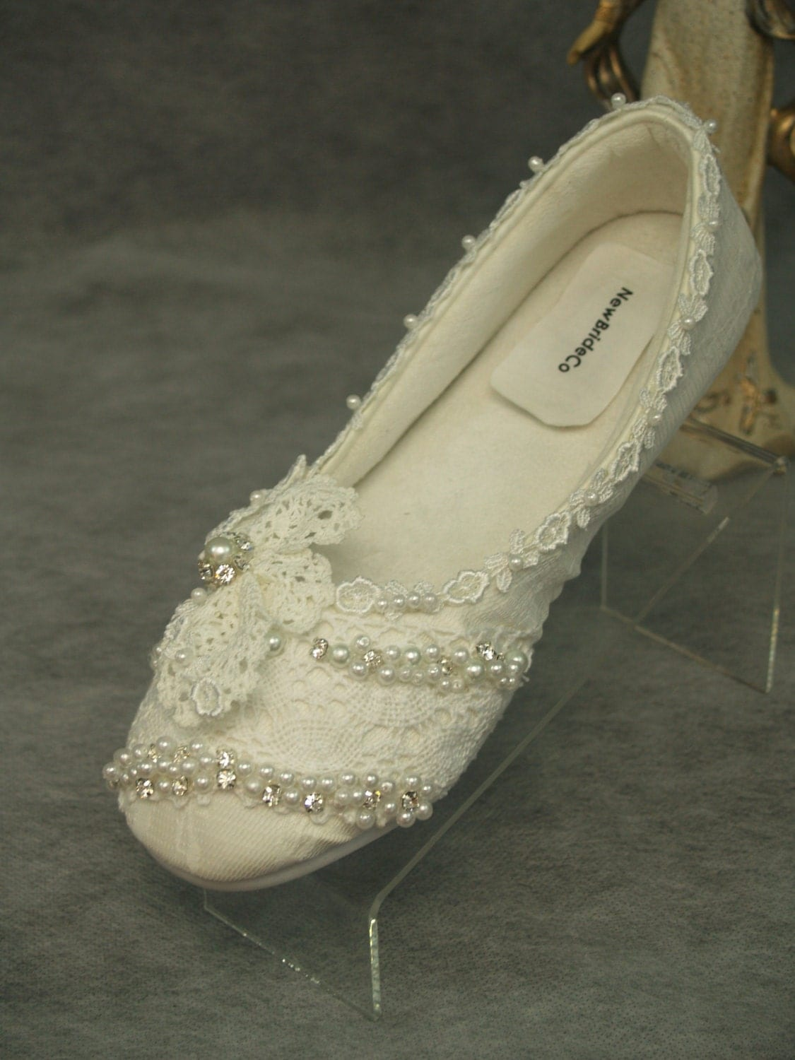 Wedding Flats Ivory Vintage Lace Flat Bridal Shoes With