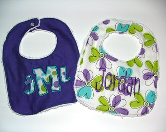Monogrammed Personalized Bibs Gift Set of 2 Embroidered Newborn To Toddler Girl Chenille Baby Bibs