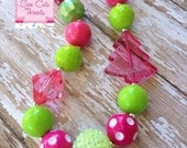 Pink Christmas Chunky Necklace
