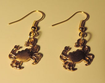 Goldtone Crabs Earrings tibetan silver