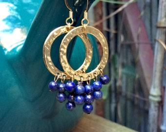 Ares - Dark Blue Lapis Lazuli & Gold Hoop Earrings