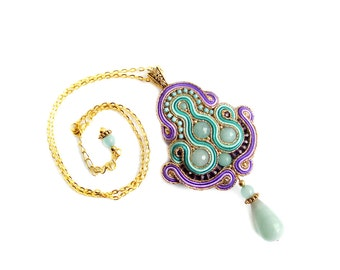 Handmade Soutache pendant  - elegant, classy and unusual Soutache Jewelry - Jewel of the Percia 2
