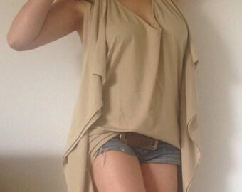 Multi Way T- Shirt /Butterfly Tunic / V Neckline / V Open Back/  Wide and Loose Shirt / Asymmetric Front Back Hemline