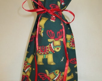 Wine Bottle Gift Bag Christmas Santa's Reindeers