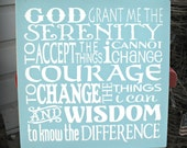 Serenity Prayer - 18 x 18 inch --  Painted Wooden  Subway Typography sign