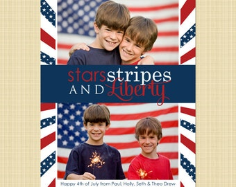 4th of July photo card - Independence Day greetings card (stars, stripes and liberty)