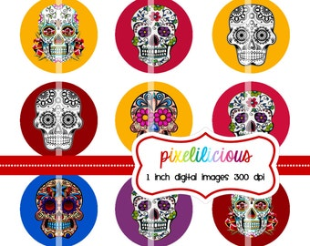 Bottle Cap Image Sheet - Instant Download - Sugar Skulls 2 -  1 Inch Digital Collage - Buy 2 Get 1 Free