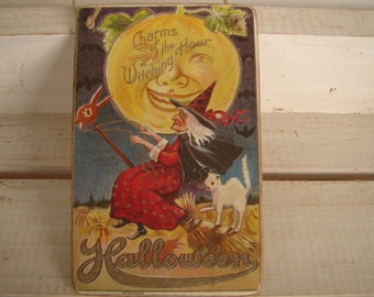 Halloween sign,Charms of the Witching Hour,vintage style image on wooden tag with string to hang.