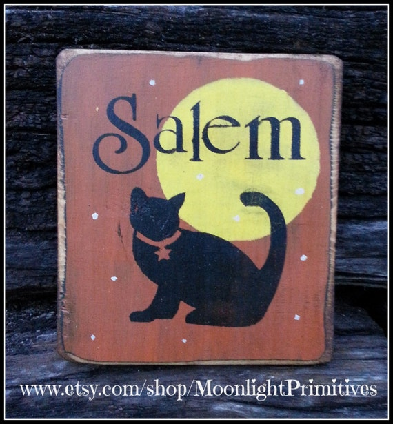 Halloween, Salem, Black Cat, Wooden Signs, Full Moon, Halloween Signs, Wiccan, Rustic, Distressed, Primitive Signs