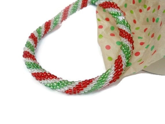 Crochet Bead Bangle Bracelet Red Green Clear Spiral Rope
