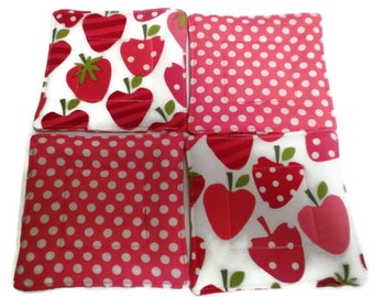 Strawberry Coaster Set, Quilted Coaster Set, Pink and Red Coaster Set, Strawberry Drink Coasters, Drink Coasters, Beverage Coasters