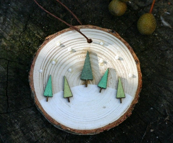 Christmas Holiday Ornament Birch Wood Slice Five Happy Trees