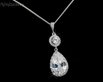 Bridal Necklace Bridesmaid wedding Jewelry Necklace Sterling Silver Necklace round Teardrop cubic zirconia pendant Sparkly Delicate Necklace