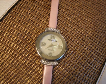 Sale- FREE SHIPPING Pink mother of pearl Versales watch with sparkle breast cancer awareness great christmas gift