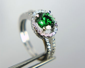 Emerald Green CZ in a Glowing Accented Sterling Silver Setting