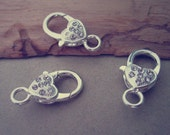 10pcs silver color with Crystal Lobster Clasps 12mmx27mm