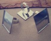 10pcs Adjustable White K Square Ring Blanks 25mm