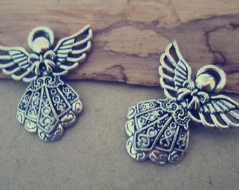 20pcs of Antique silver angel pendant charm  23mmx25mm