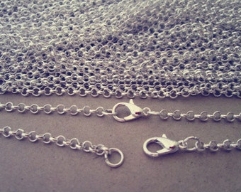 100pcs 2mm 19inch silver corol Link chain With Lobster Clasp