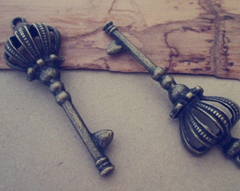 8pcs Antique bronze Key charm pendant  18mmx57mm