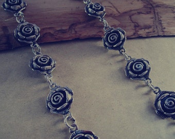 3.28ft  Fancy Antique silver roses Chain 14mmx19mm