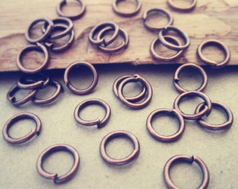 300 pcs Antique copper red Jump Rings 6mmx0.9mm