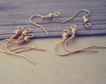 100 pcs gold color ear hooks 18mmx20mm