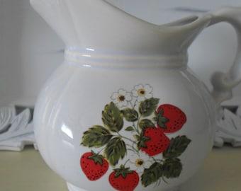 McCoy Pottery Strawberry Pitcher Flower Vase Free Insured Shipping