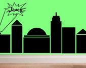 wall decal kids - Super Hero comic book city personalized name child