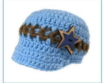 Crochet Blue Cotton Newsboy