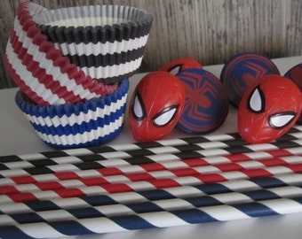 Spiderman Ring Cupcake Toppers Straws Baking Liners
