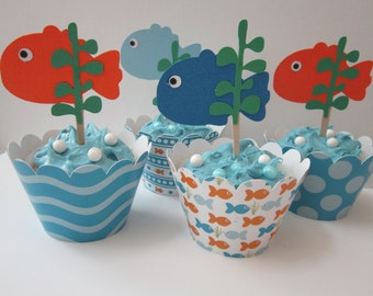 Fish Wave Bubble Cupcake Wrappers