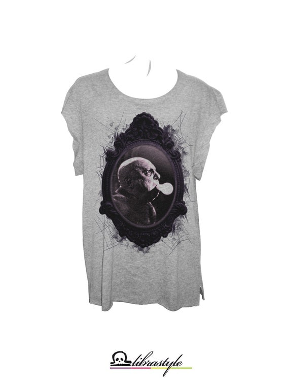 Fester Adams grey tshirt antique frame and spider webs loose fit,scoop neck and cropped hems (laser cut)