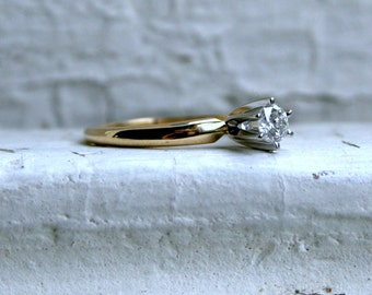 Classic Vintage 14K Yellow Gold Diamond Solitaire Engagement Ring - 0.28ct