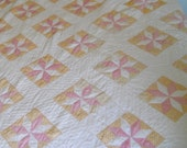 Vintage Patchwork Quilt, Hand Stitched Soft Colors Star Quilt, French Country Twin Size Handmade Quilt