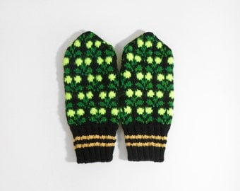 Hand Knitted Mittens - Black and Green, Size Extra Large