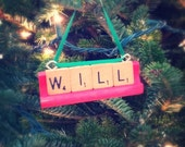 CHRISTMAS ORNAMENTS - Red and Green or Your Choice of Color Made from Vintage Scrabble Tiles
