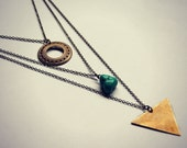 triangle circle layer necklace, turquoise necklace,  geometric necklace, circle necklace, stone necklace