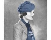 1930s Jaunty Tilted Beret Hat, Envelope Bag and Scarf Ensemble of 3 - 3 Crochet PDF patterns 2021