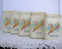 5 kitchen tins with bird and flower design vintage French food storage tin